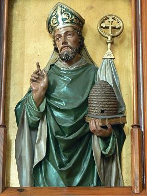 St.Peter am Wimberg ( Oberösterreich ). Pfarrkirche: Neogotische Kanzel ( 1904 ) von Michael Plakolb - Relief des Kirchenvaters Ambrosius