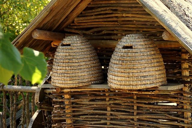 Bienenkörbe statt Stöcke.